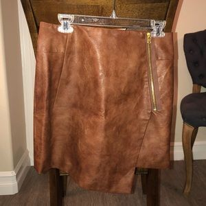 H&M Brown Faux Leather Skirt- US 8